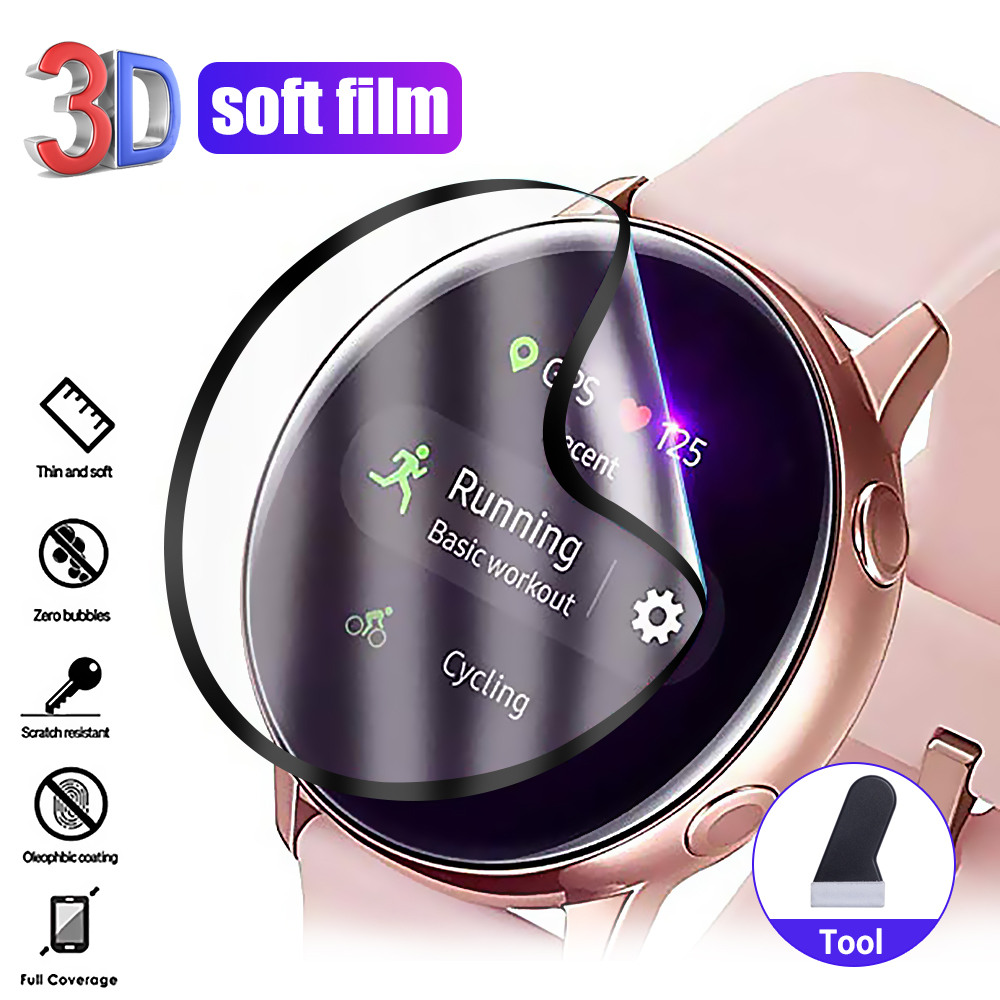 3D Full Screen Protector Film for Samsung Galaxy Watch Active 2 40mm 44mm HD Anti-Bubble Soft Curved Edge Screen Protector Cover 1