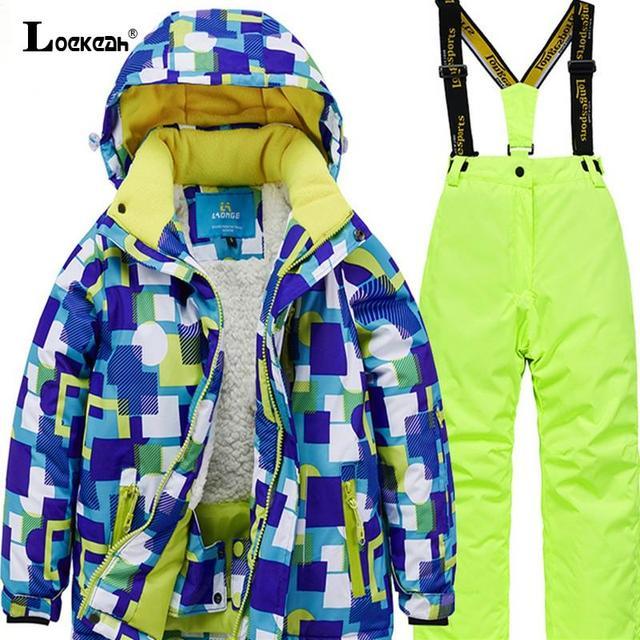 Zima wodoodporna dzieci narciarstwo Snowboard garnitur kurtki spodnie polar z kapturem wewnątrz odzież narciarska nastolatki tanie i dobre opinie Loekeah Dobrze pasuje do rozmiaru wybierz swój normalny rozmiar CN (pochodzenie) Chłopcy MT6689 Paisley wodoodporne POLIESTER