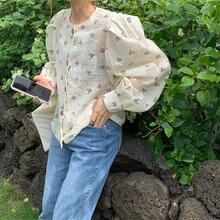 Новая Милая Свободная Женская блузка с круглым вырезом и буффами
