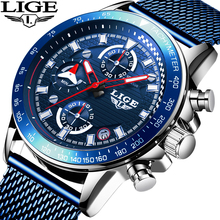 цена 2019 Mens Watches Fashion Sport Blue Quartz Watch Men Top Brand Luxury Waterproof Chronograph Full Steel Clock Relogio Masculino онлайн в 2017 году