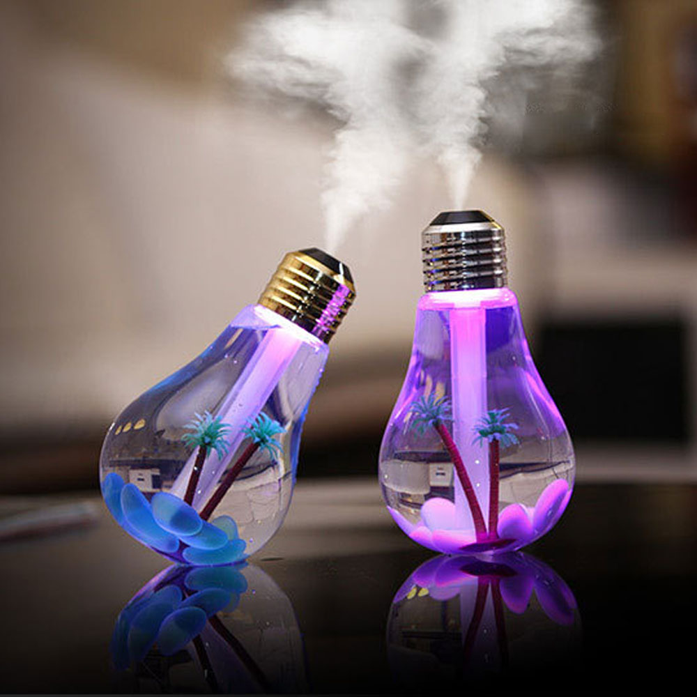 7 Color Changing 400ml LED Lamp Air Ultrasonic Humidifier Essential Oil Diffuser Atomizer Freshener Mist Maker Night Light Bulb