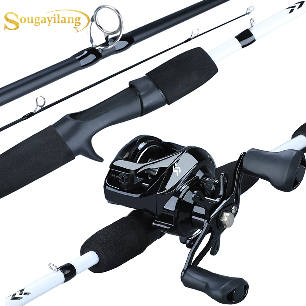 Sougayilang New1.75m Fishing Rod Reel Combo Portable3 Section Carbon Fishing Rod With12+1BB Baitcasting Reel Fishing Tackle Set
