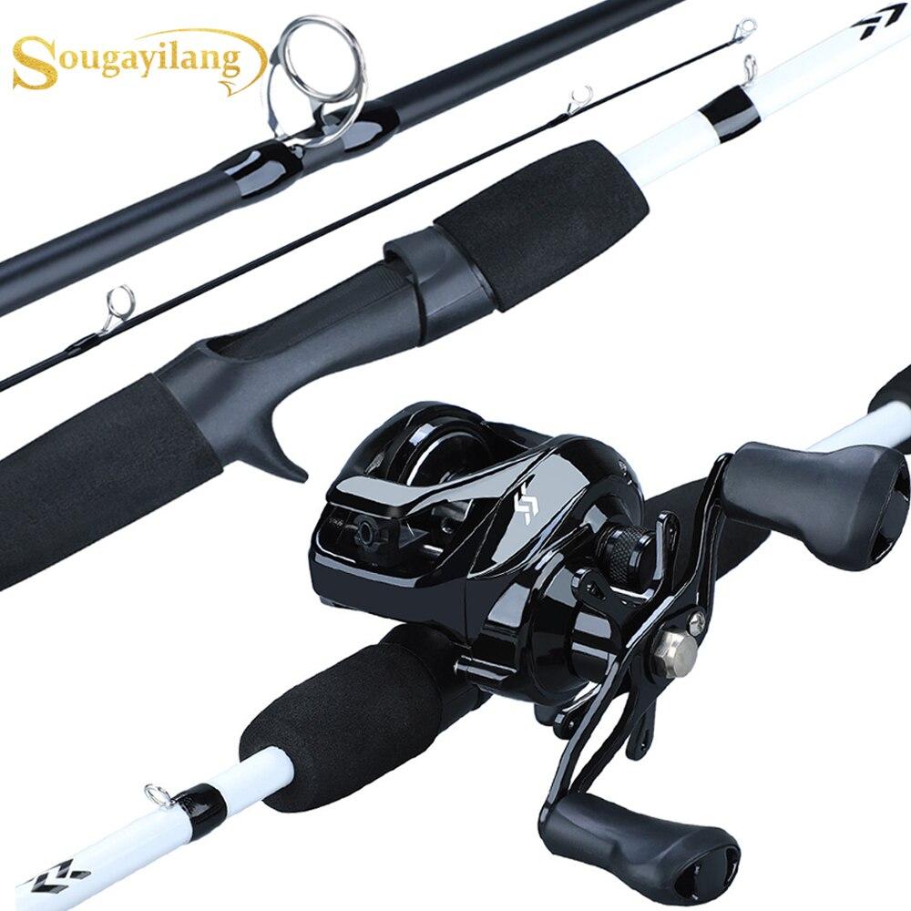 Sougayilang New1.75m canne à pêche moulinet Combo Portable3 Section canne à pêche en carbone with12 + 1BB Baitcasting moulinet ensemble de matériel de pêche