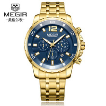 Fashion Luxury Golden Mens Watches Top Brand Quartz Clock Calendar Chronograph Multifunction Wristwatch