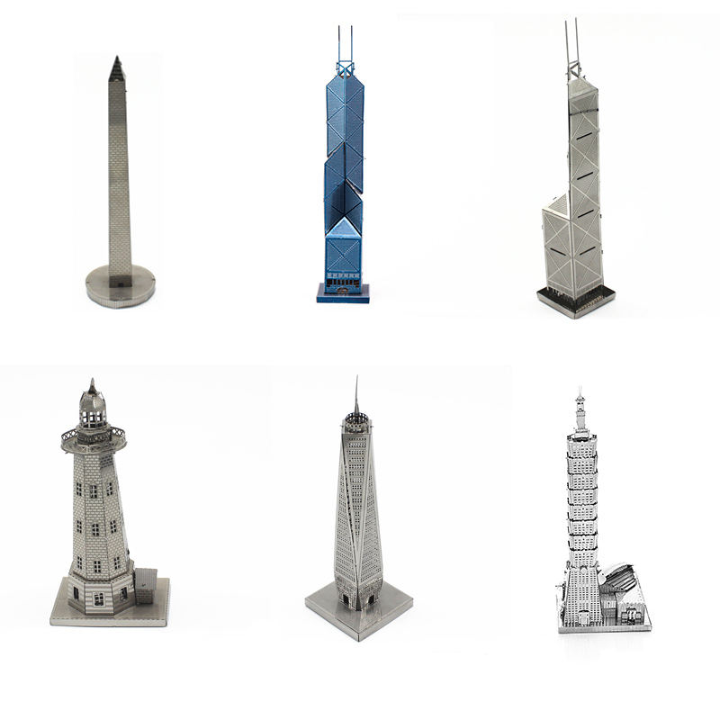 DIY Toy Metal 3D Jigsaw Puzzle Model Various Tower Buildings  For Adult Children's Education Collection Hand-assembled Kit
