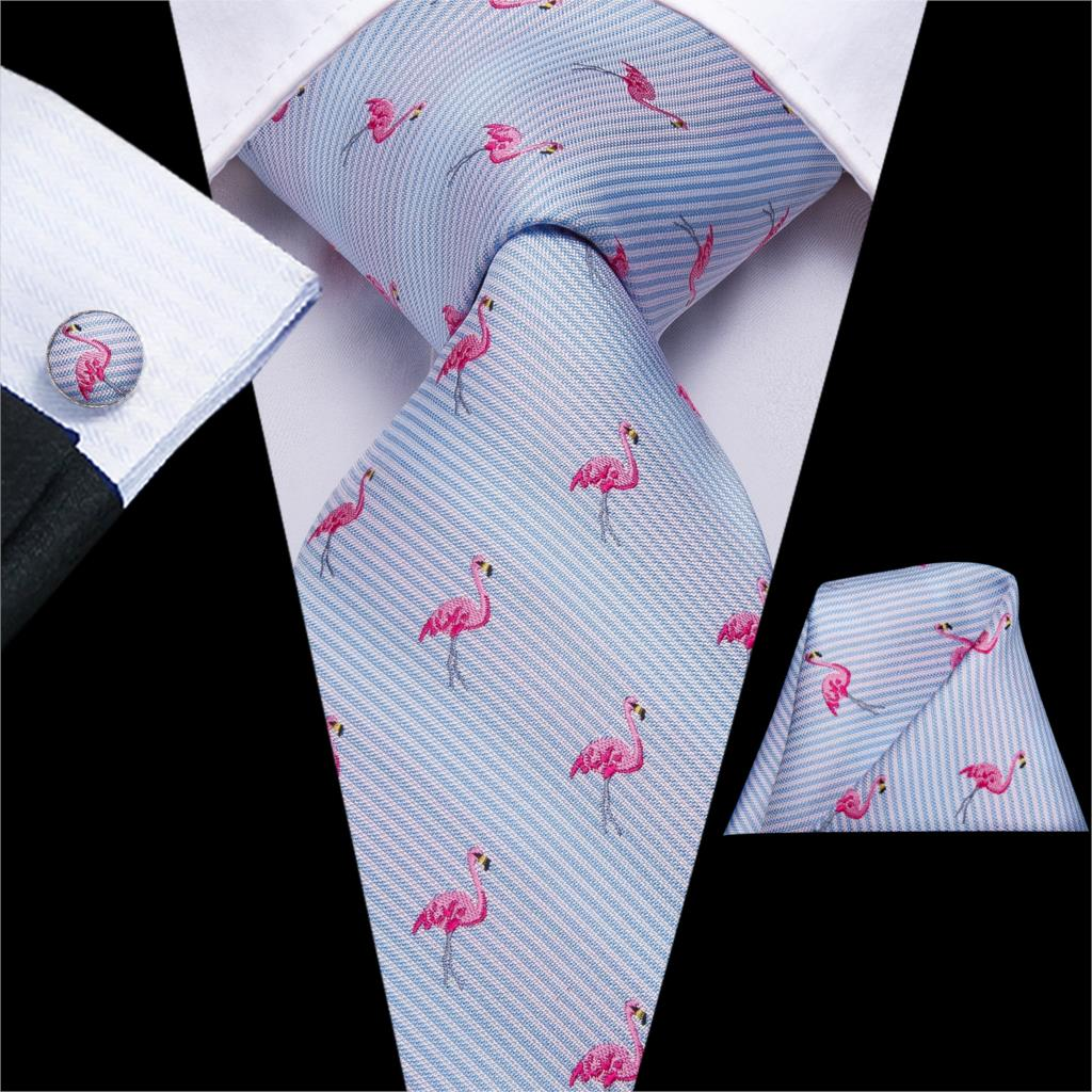 Hi-Tie Fashion Christmas Ties For Men 100% Silk Tie Red Green Bird Pattern Tie Necktie Hanky Cufflinks Set Mens Silk Ties