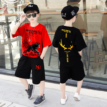 Zestaw dziecięcy chłopięcy z krótkim rękawem dres zwierząt wydrukowane na czarno odzież dziecięca chłopiec lato Hip-hop luźny dwuczęściowy garnitur 2020 tanie i dobre opinie Extrayou Chłopcy Pasuje prawda na wymiar weź swój normalny rozmiar Drukuj Oddychające H104 O-neck COTTON Pełna black red