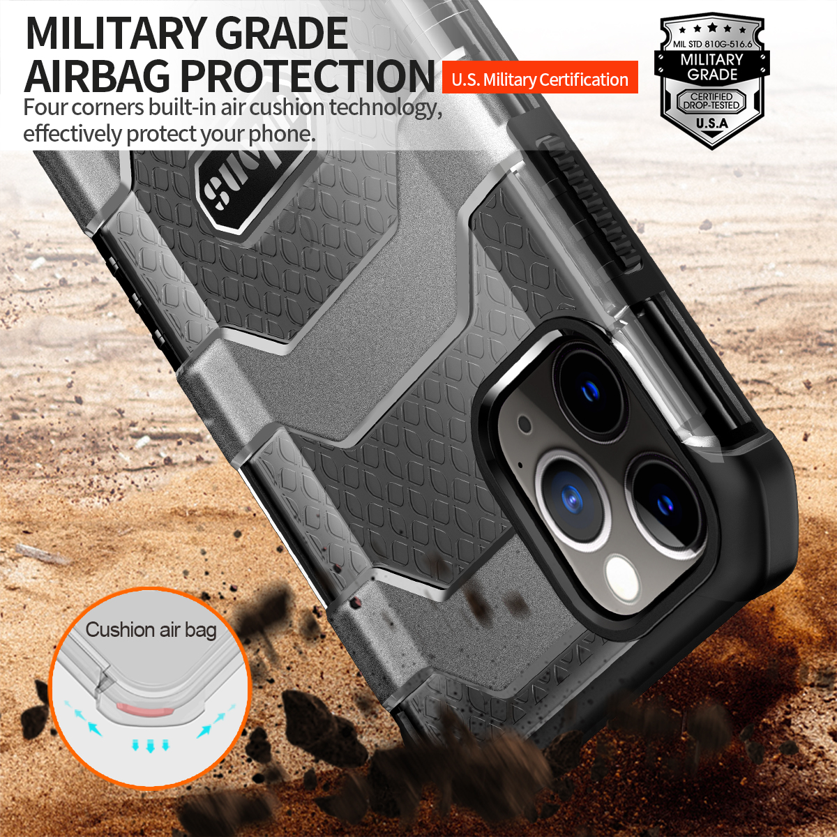 Military Rugged Armor Heavy Duty 360° Camera Protection Case for iPhone 12