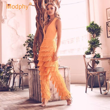 Winter 2020 Nieuwe vrouwen Bandage Jumpsuit Celebrity Club Avond Party Sexy Bodycon Diepe V-hals Mouwloze Fringe Jumpsuit(China)