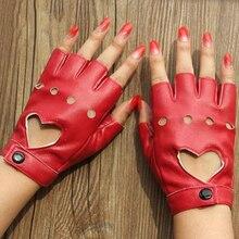 Кожаные перчатки Luvas Guantes Mujer для женщин девочек многоцветный красный черный белый любящее твердое сердце варежки