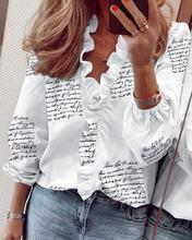 Рубашка женская с оборками пикантная облегающая блузка буквенным