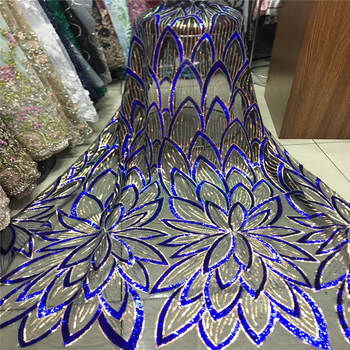 2019 Latest African Sequins Lace Fabric Net Fabric Swiss Voile Lace High quality France Tulle Mesh Lace For Wedding Party Dress