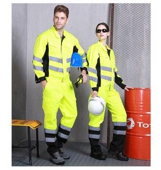 Orange reflective clothes set Highways Construction municipal law enforcement uniforms railway antistatic protective coveralls