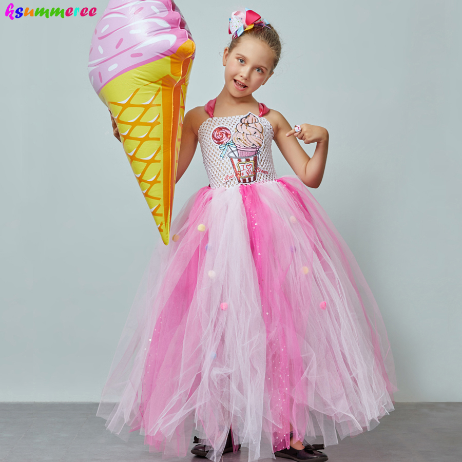 Ice Cream Sweet Candy Girls Tutu Dress with Hair Bows Kids Birthday Tutu Costume Pageant Princess Gown Dress Lollipop Dress 1