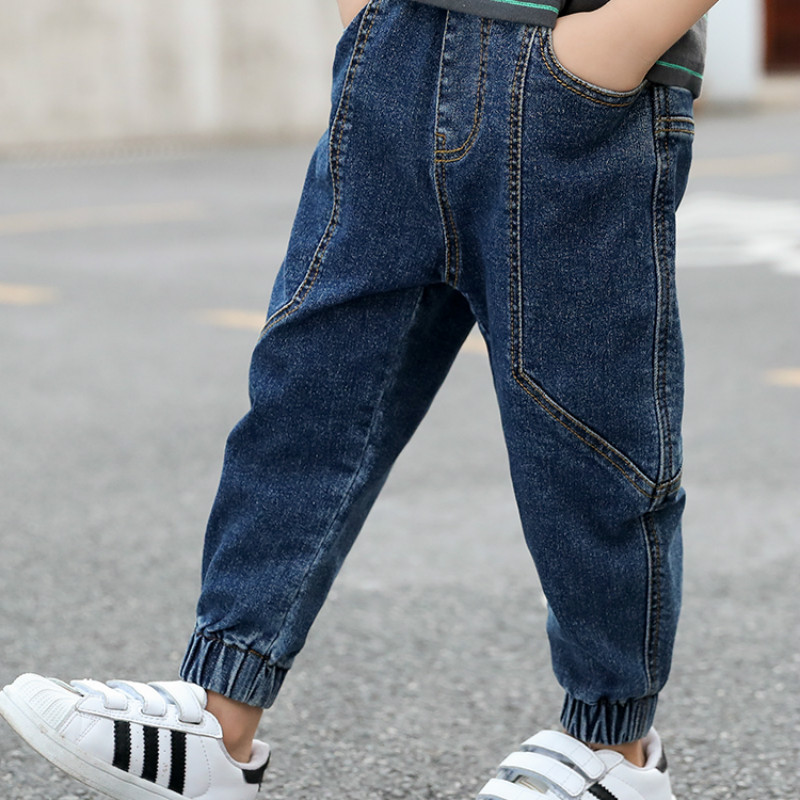 Children's autumn jeans boys long pants loose in the Korean version of the wave 2020 boy jeans trousers title=