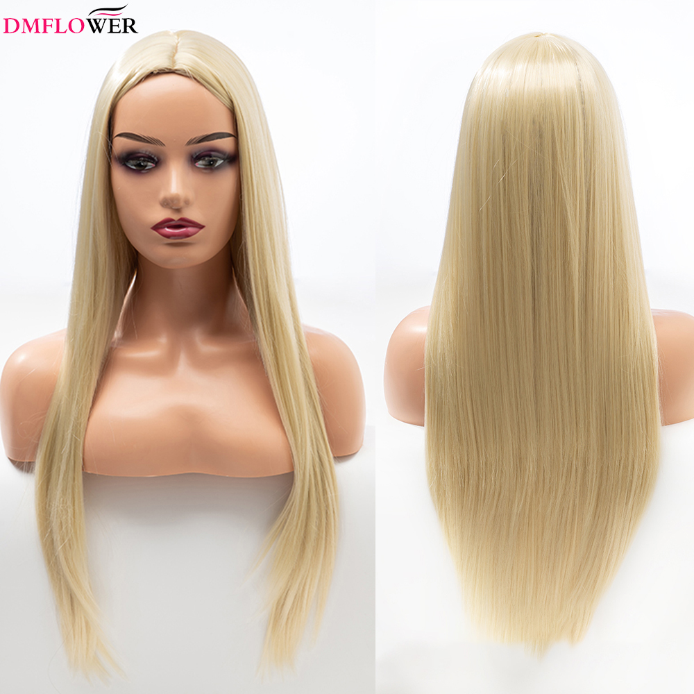 DMFLOWER-Women's Wig, Long Straight Hair Glowing Golden Brown Cosplay Natural High Temperature Heat Resistant Fiber Hair Wig