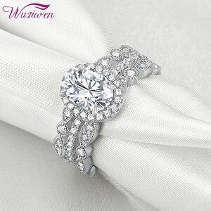 Женское Обручальное Кольцо Wuziwen, обручальное кольцо овальной формы из стерлингового серебра 925 пробы в стиле арт-деко, Свадебный комплект, к...