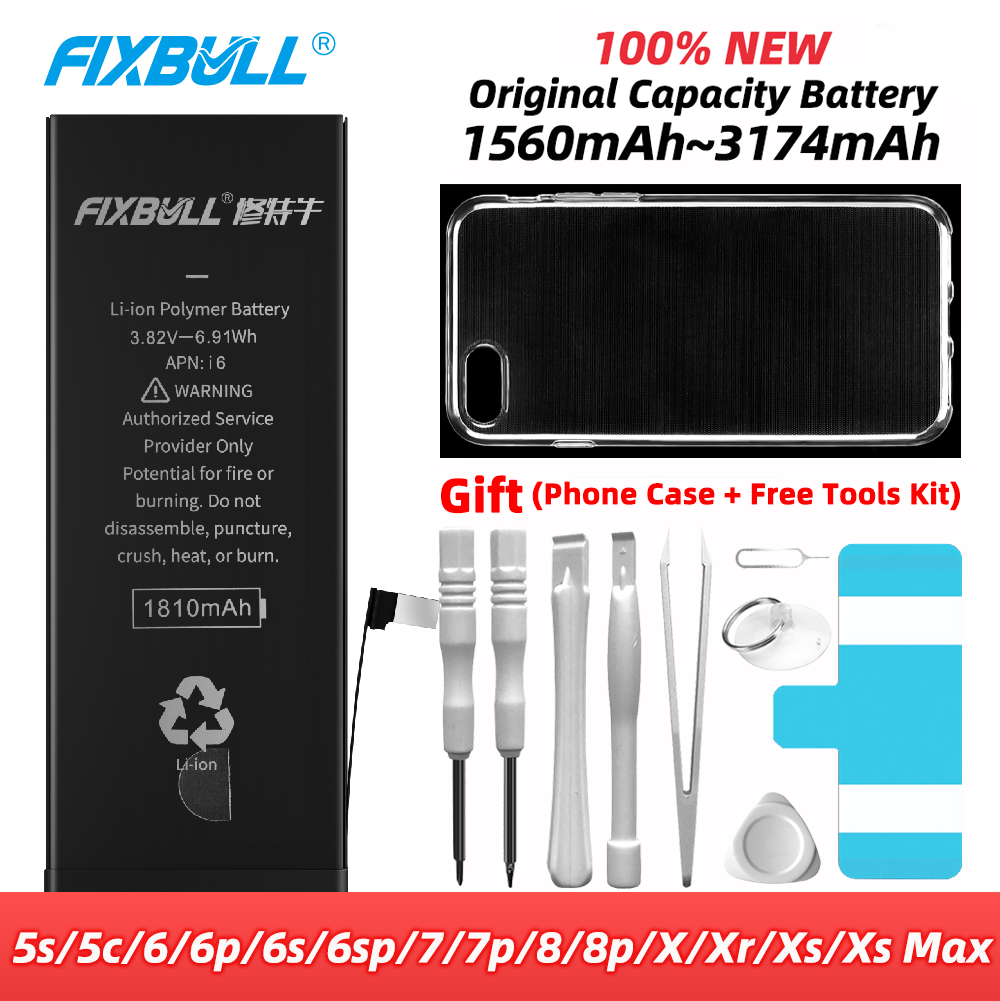 FIXBULL Original <font><b>Battery</b></font> For <font><b>iPhone</b></font> 5S 5C <font><b>6S</b></font> 6 7 8 Plus <font><b>6s</b></font> X Xr Xs Max 6Plus 7Plus 6SPlus 8Plus Replacement Bateria For iPhone6s image