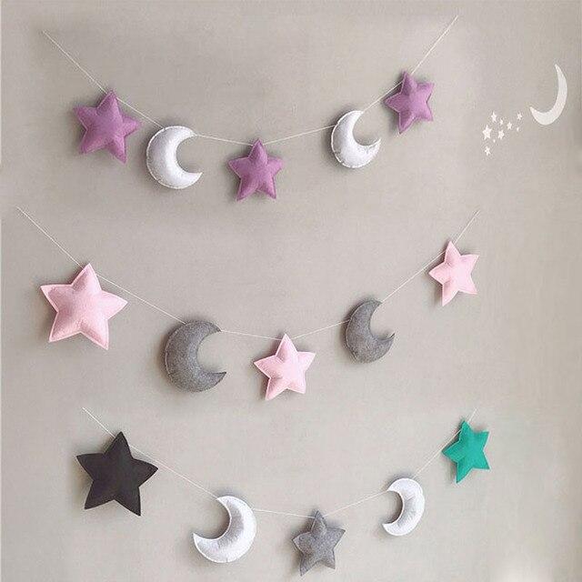 3 звезды, 2 Луны, висячие украшения, веревка для детской комнаты, палатка для детской комнаты, украшение для детской комнаты, ветряные колокол...