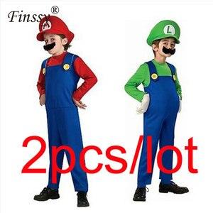 Image 1 - 2 sztuk/partia Super Mario Luigi brat kostium dla dzieci Halloween kostiumy śmieszne Party Dress dziewczyny Fantasia Cosplay kombinezon