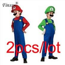 Disfraz de Super Mario y Luigi Brother para niños, disfraz de Halloween, traje de fiesta para niñas, mono de fantasía, 2 unidades por lote
