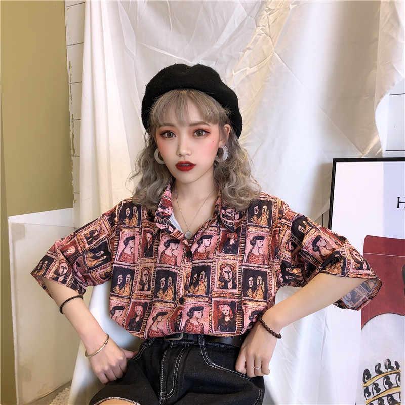 2019 sommer Vintage Cartoon Drucken Lose Beiläufige Frauen Bluse Harajuku Kurzarm Ulzzang Shirts High Street Vogue Blusas Tops