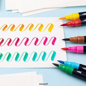Image 3 - Monami Color Twin Brush Watercolor Brush Pen Double Head Art Markers Sketching Painting Brush Lettering 04038