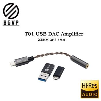 BGVP T01 DAC USB amplificador de Audio de alta fidelidad, tipo-c micro USB con adaptador Compatible con el teléfono celular PC W