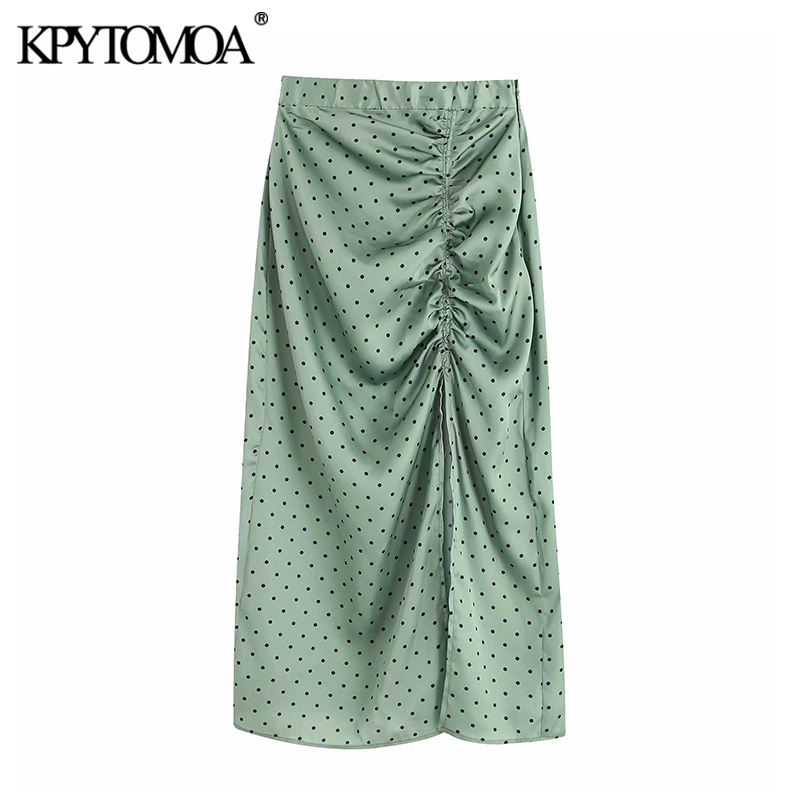 Vintage Elegant Polka Dot Pleated Midi Skirt Women 2020 Fashion Elastic Waist Side Zipper Slit Female Skirts Chic Faldas Mujer