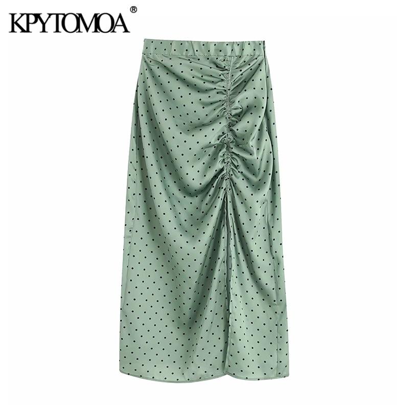 Vintage Elegant Polka Dot Pleated Midi Skirt Women 2020 Fashion Elastic Waist Side Zipper Slit Female Skirts Chic Faldas Mujer