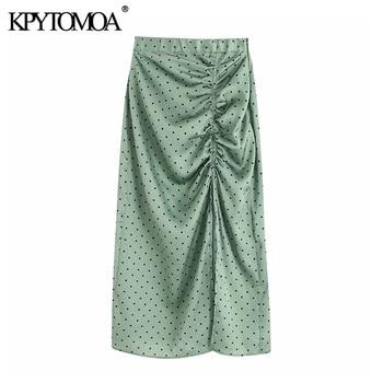 Vintage Elegante Polka Dot Plissee Midi Rock Frauen 2020 Mode Elastische Taille Seite Zipper Slit Weibliche Röcke Chic Faldas Mujer
