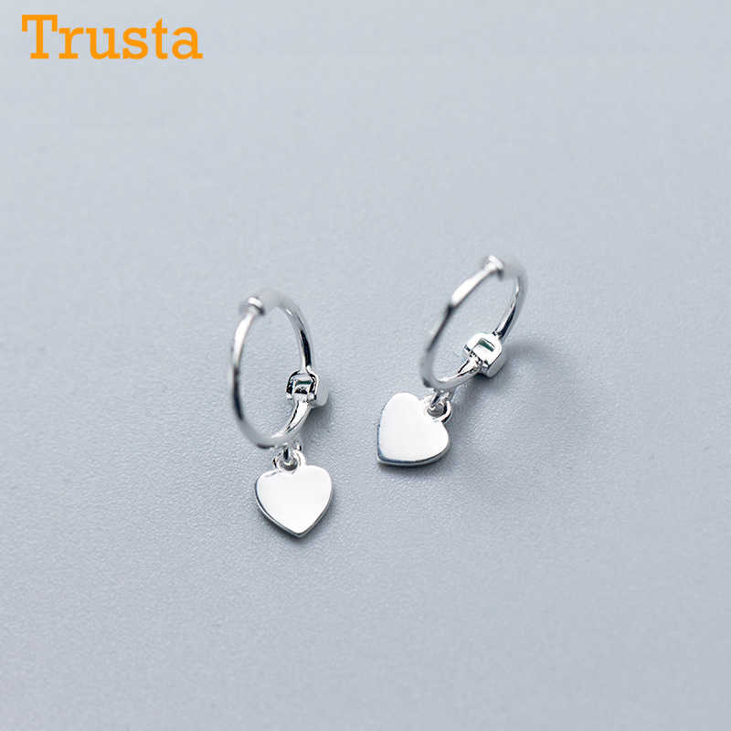 Trusta 925 Solid Sterling Silver Earrings Women Fashion Heart/Star Small Love Stud Ear Clip Jewelry Gift for Teen Girls DS904