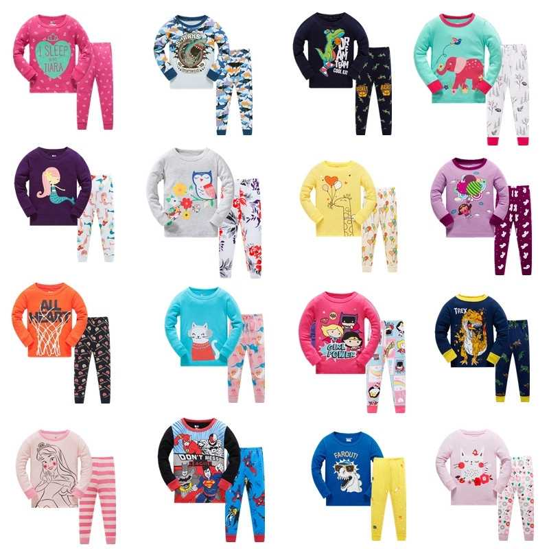 Kids New Cotton Clothing Sets Child Cotton Pajamas Sets Girls Cartoon Sleepwear Clothing Set For Boys 2-Piece Suit Sets