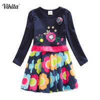 Vikita meninas vestidos de flores crianças algodão vestido manga longa outono inverno dos desenhos animados crianças vestido para meninas infantil menina