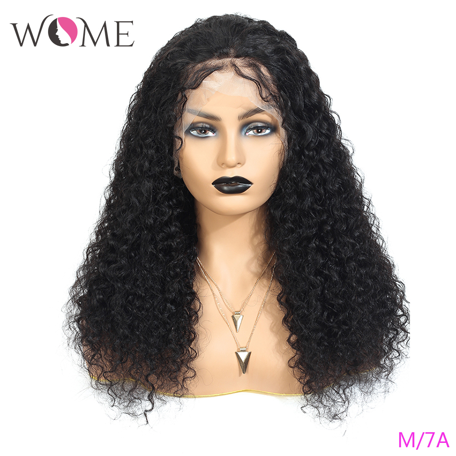 WOME Brazilian Curly Hair Wigs 13x4 Lace Front Human Hair Wigs 150% Natural Color Middle Ratio 8-26 Inches Remy Hair Lace Wigs