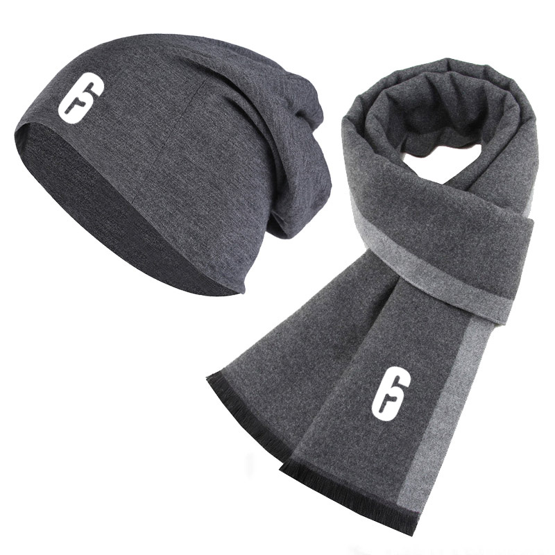 Winter Beanie Hat Rainbow Six Siege 6 Printed Men Hat Scarf Solid Color Warm Cotton Scarf Hat Set Male Sports Hat Scarf Set 2Pcs