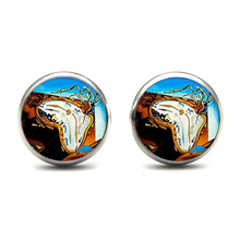 Salvador Dali Studs Earrings SalvadorDali Painting Ear Nail At the Moment of Explosion Earring Glass Cabochon maximize the moment