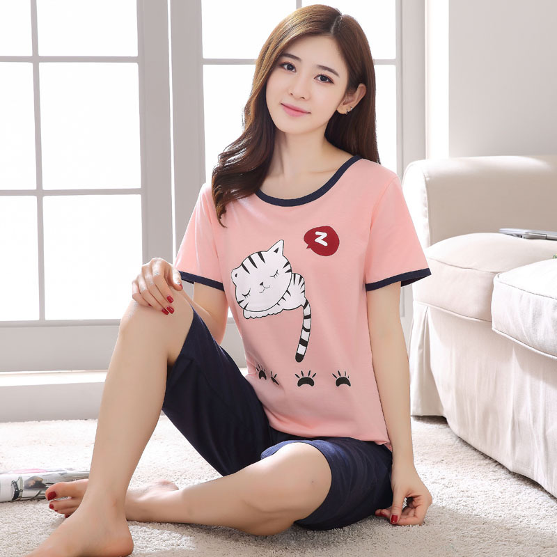 Summer Short-sleeved Pure Cotton Pajamas Female Summer Thin Capri Pants Cute Set Cartoon Cotton WOMEN'S Pajamas Two-Piece Set