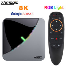 A95XF3 Air RGB Light TV Box Android 9.0 4GB 64GB Amlogic S905X3 Box 8K HD 2.4/5G Wifi Netflix Media Server Android Tv Box(China)
