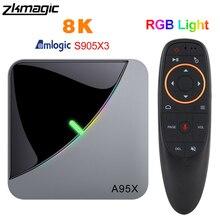 A95XF3 Aria RGB Luce TV Box Android 9.0 4GB 64GB Amlogic S905X3 Scatola di 8K HD 2.4/5G Wifi Media Server di Android Tv Box