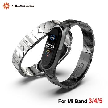 Strap For Xiaomi Mi Band 5 4 3 Stainless Metal Wristbands Bracelet Miband Pulseira Xaomi Correas Xiomi Bend Global Version NFC