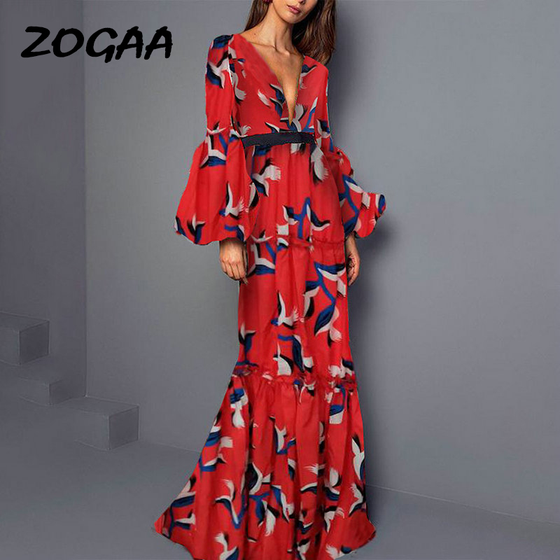 ZOGAA Red Bohemian Long Dress Deep V Neck Ruffles Noble Elegant Evening Party Night Women Summer Maxi Robe Femme 2019