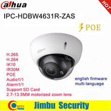Dahua Câmera Ip POE 6MP IPC HDBW4631R ZAS 2.7 ~ 13.5 milímetros lente varifocal motorizada IR30M IP67 built in slot para cartão SD interface de áudio