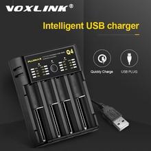 VOXLINK cargador de batería 18650, 5V2A, con cable USB, carga rápida, 26650, 18350, 21700, 26500, cargador de batería recargable Li ion