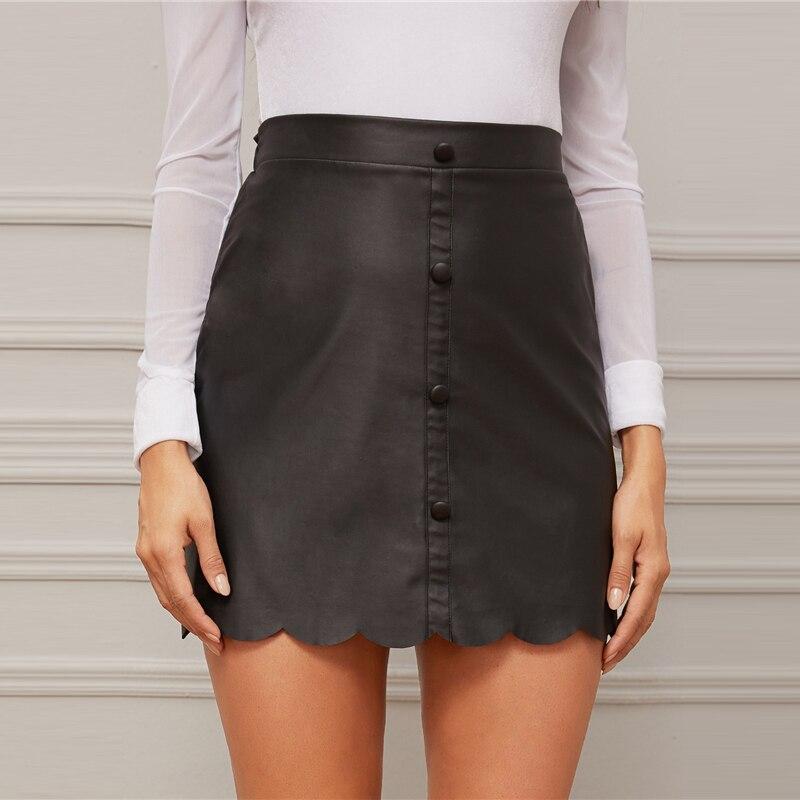 Black Scallop Buttoned Mini Skirt