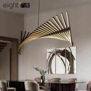Image 4 - Black/White LED Pendant Light For Dining Living Room Home Deco Fishbone lamp Modern Creative Aluminum Hanging Lamps AC90V   260V