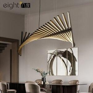 Image 4 - أسود/أبيض قلادة LED ضوء لغرفة المعيشة الطعام المنزل ديكو هيكل السمكة مصباح الحديثة الإبداعية الألومنيوم معلقة مصابيح AC90V   260 فولت