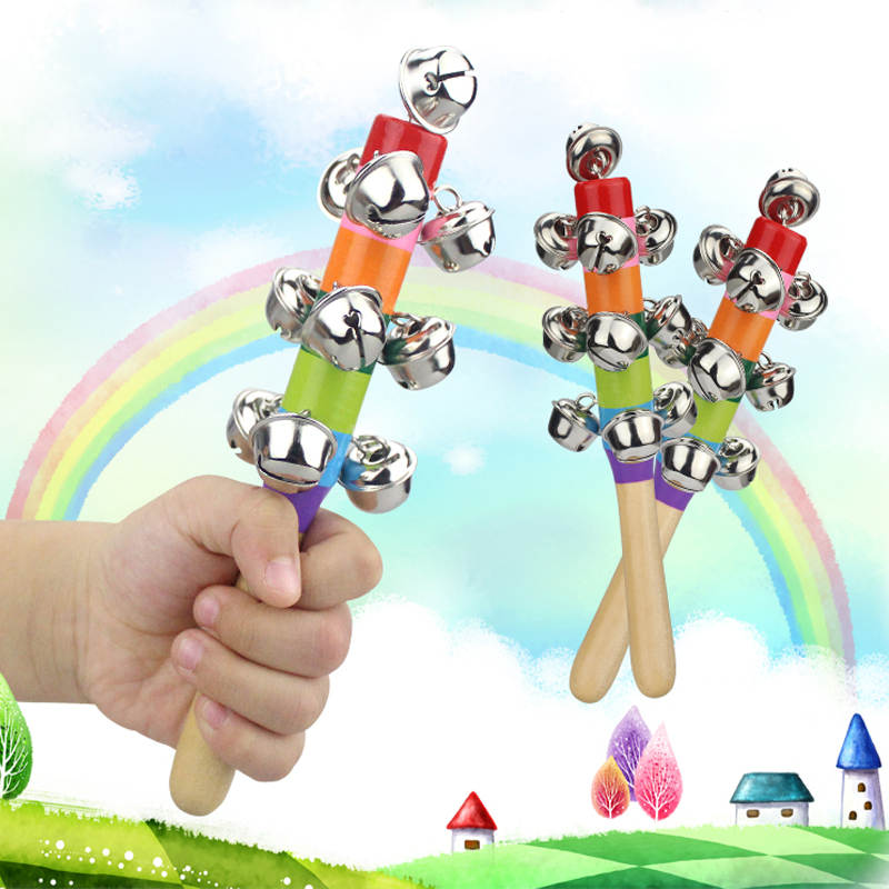 Baby Wooden Stick Hand Rattle Kid Educational Toy Children Jingle Bells Rainbow Appease Rattles Music Toys Kids Interactive Game