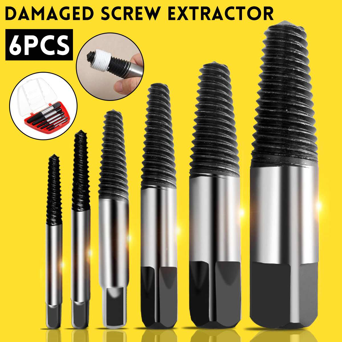 6Pcs/set Steel Damaged Screw Extractor Drill Bit Broken Speed Out Guide Set Broken Bolt Remover Easy Out  Tool Accessories