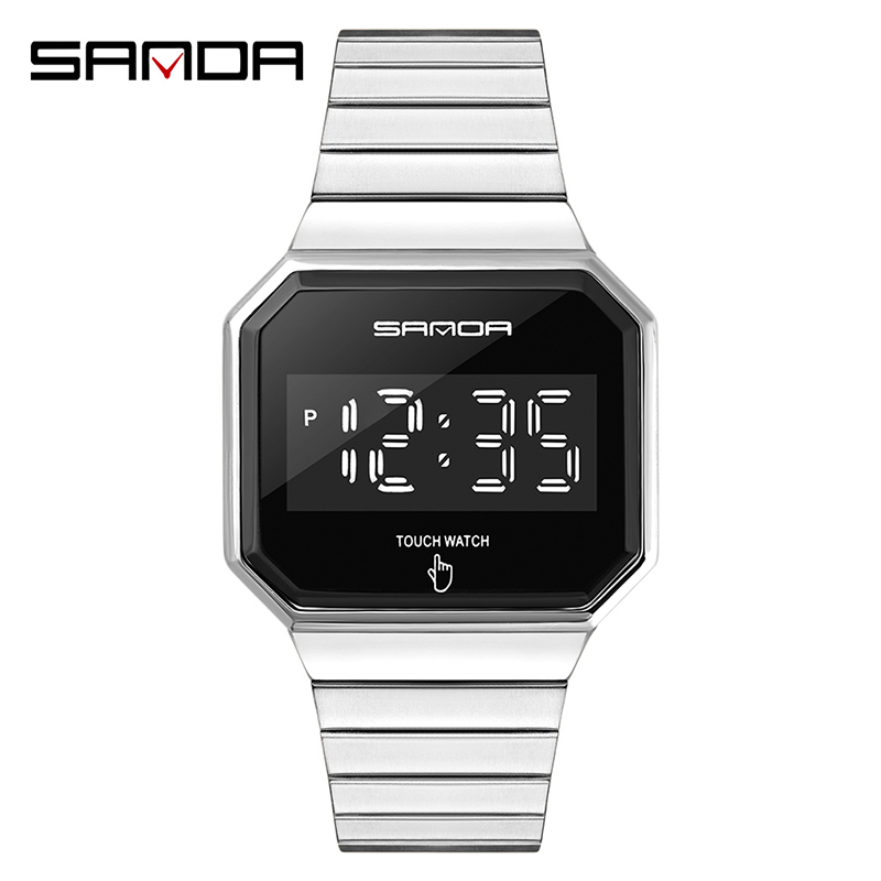 Creative Fashion Clock LED Touch Screen Watches Digital Watch Men Fashion Simple Alloy Band Electronic Wristwatches Reloj Montre 10